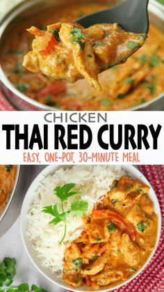 This Thai Red Curry Chicken is full of flavor, so easy to make at home, and healthier than the take-out kind! It's chicken and veggies, stewed in a delicious creamy coconut red curry sauce. 😋 Click 🔗 for the full detailed recipe and full video! #thairecipes #curry #chicken #currychickenrecipes #easyrecipe #glutenfreerecipes #lowcarbrecipes Healthy One Pot Meals, Easy One Pot Meals, Easy Family Meals, Healthy Dinner Recipes, Low Carb Recipes, Family Recipes, Free Recipes, Healthy Food, Paleo Chicken Recipes