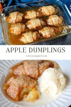 Love these easy apple dumplings for a fall dessert! Fall Dessert Recipes, Fall Desserts, Easy Apple Dumplings, Crescent Rolls, Cobbler, Pumpkin Spice, Tart, Curry, Treats