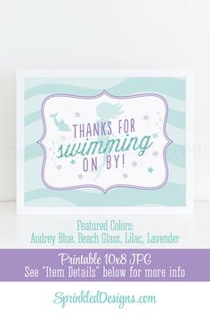 Mermaid Party Favor Sign, Thanks For Swimming By - Printable Mermaid Birthday Party Decorations Sign, Lilac Purple Audrey Blue Teal Glitter