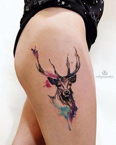 Deer Tattoo on thigh new school of Viktoriya Toropova - deer Tatt. - Deer Tattoo on thigh new school of Viktoriya Toropova – deer Tattoo on thigh new school of Viktori - Diskrete Tattoos, Head Tattoos, Mini Tattoos, Finger Tattoos, Cute Tattoos, Body Art Tattoos, Small Tattoos, Sleeve Tattoos, Sternum Tattoo