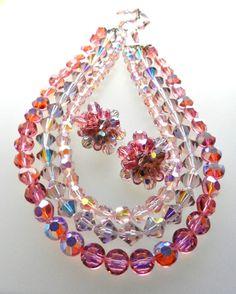 1950s Vintage High Quality Pink/Violet AB Crystal by RAKcreations