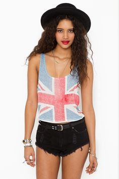 Union Jack Crop Tank  http://www.nastygal.com/clothes/union%2Djack%2Dcrop%2Dtank?utm_source=pinterest&utm_medium=smm&utm_campaign=pinterest_nastygal