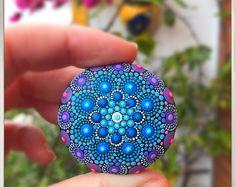 Blue flower stone mandala dot art painted