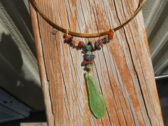Sea Glass Green Slide with Earth Tone Stone Beads by Deesshoppe, $16.00