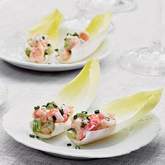 Shrimp Salad-Stuffed Endive - The Easy, Breezy, Summer Party: Recipes, Tips, and Ideas - Southern Living Endive Appetizers, Endive Recipes, Appetizers For Party, Appetizer Recipes, Party Recipes, Yummy Appetizers, Tapas Party, Seafood Appetizers, Appetisers