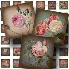 SALE!!!Roses Digital Collage Sheet - Digital Download - Aged Vintage 1 Inch Squares -  - Printable INSTANT Download