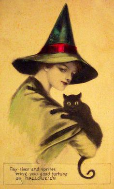 Halloween Vintage Halloween Postcard, witch and black cat Vintage Halloween Halloween Kunst, Vintage Halloween Images, Halloween Photos, Halloween Cat, Vintage Holiday, Halloween Outfits, Happy Halloween, Halloween Clothes, Costume Halloween