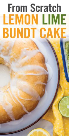 No cake mix used in this From Scratch Lemon Lime Bundt Cake. Real ingredients including flour, sugar, eggs, butter, milk, fresh lemon and lime zest/juice, and 7UP. A moist, fluffy cake with sweet, tangy flavors. - www.platingpixels.com