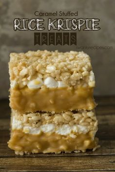 Caramel Stuffed Rice Krispie Treats - Soft and gooey double-decker caramel stuffed rice krispie bars
