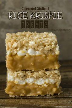 Caramel Stuffed Rice Krispie Treats - Soft and gooey double-decker caramel stuffed rice krispie bars