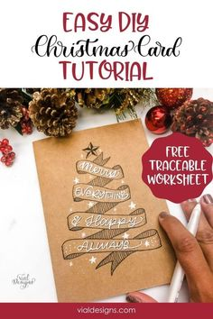 Say a Merry Christmas to your friends and family with this Easy DIY Christmas Card | This card is the perfect handmade Holiday card for your loved ones | Easy DIY Holiday Card | Merry Everything and Happy Always | DIY Christmas Card step-by-step tutorial | Learn how to make an awesome banner the easy way | #diyholidaycard #diyhandmadecard #diychristmascard #vialdesigns #letteringtutorial #bannerdoodle Calligraphy Tutorial Beginners, Hand Lettering For Beginners, Hand Lettering Tutorial, Calligraphy Doodles, Calligraphy Signs, Doodle Lettering, Banner Doodle, Christmas Ideas, Merry Christmas