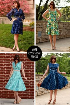 New dresses made from vintage patterns. Love! I just need to learn to sew well enough to make something like this.