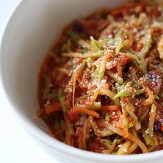 """Fast, Low-Carb, and Low-Calorie Broccoli Slaw """"Pasta"""""""