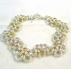 Zig Zag Gold and Silver Chainmaille by ShazzabethCreations on Etsy