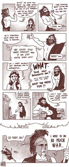 Dit doet me denken aan dat in het boek verteld wordt dat Aphrodite en Ares op elkander verliefd zijn, maar ze is al in relatie met Hephaitos