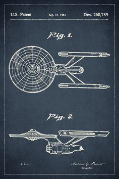Keep Calm Collection - Star Trek Starship Enterprise Patent Art Poster Print (http://www.keepcalmcollection.com/star-trek-starship-enterprise-patent-art-poster-print/)