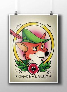 Robin Hood Fox Tattoo Parlour Poster Print