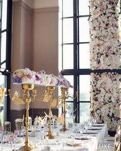 Gold origami butterflies were suspended from #centrepieces, giving the event a truly ethereal feel | Photography By: Hong Photography | WedLuxe Magazine | #WedLuxe #Wedding #luxury #weddinginspiration #luxurywedding #floral