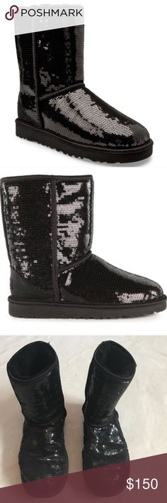 Ugg Black Sequin Short Fuzzy Sherpa Inside Boots Classic short boots. Black fuzzy inside. Black sequin outside. Has small mark out outside. Bottom of boots in great condition. Lots of wear left. Bundle 2+ items for a discount. UGG Shoes Winter & Rain Boots