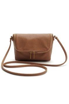 Brown Faux Leather Soft Mini Crossbody Bag