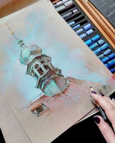 Soft Pastel Art, Pastel Drawing, Oil Pastel Paintings, Paintings I Love, Cityscape Drawing, Watercolor Architecture, Pastel Landscape, Perspective Art, Building Art