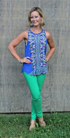I really like this top, I have a similar color ankle jeans.