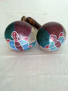 Wood African Shaker Music Instrument Turtle Decoration
