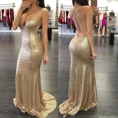 2016 Sexy Sequins Prom Dresses V Neck Light Gold Sequined Mermaid Long Criss Cross Straps Open Back Formal Party Dress Pageant Evening Gowns