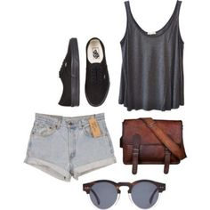 sunglasses brown charcoal , transparent , round tank top shorts shoes bag vans shirt high-wasted denim shorts