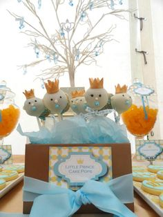 prince baby shower theme | Baby Shower 'Little Prince' Theme Cake Pops by Theme My Party ...