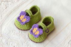 Butterfly Garden Baby Booties | AllFreeCrochet.com