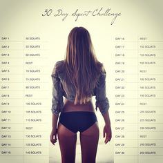 30 day squat challenge~ not sure if I could do this or not but is love to try it with sumo squats for my inner thighs