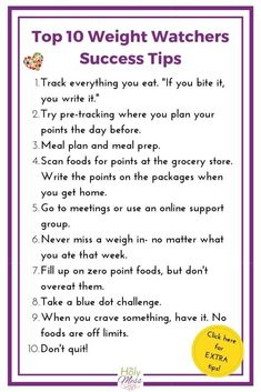 Top 10 Weight Watchers Success Tips from Members Learn from the experts! Weight Watchers members share what worked for them. Use these 43 tips from Weight Watchers members for weight loss success. Diet Food To Lose Weight, Weight Loss Meals, Weight Loss Challenge, Losing Weight Tips, Weight Watchers Meals, Fast Weight Loss, Weight Loss Program, Healthy Weight Loss, Weight Loss Tips