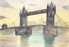 The Tower Bridge - Watercolor on Paper - 38 x 56 cm