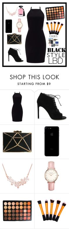 """LBD"" by therealexandra on Polyvore featuring Miss Selfridge, Yves Saint Laurent, Topshop, Morphe and Victoria's Secret"