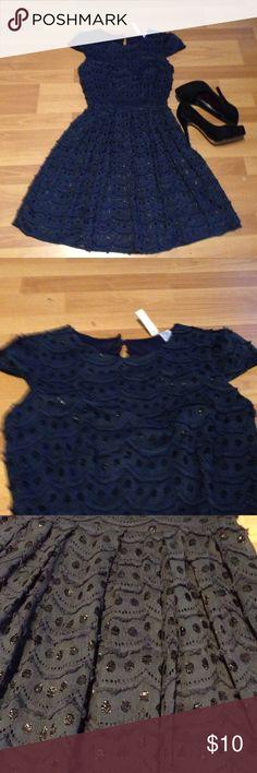 Navy blue midi dress decorated with shiny thread Navy color dress Alicia Moon Dresses Midi