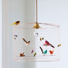 DIY Bird Cage Light: What you'll need: - An old lamp shade - hardware cloth - some floral wire - wire cutters - gloves - gold .