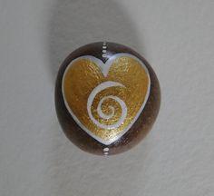 Painted Pebble - Golden Heart via Etsy