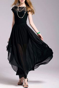 Stylish Jewel Neck Lace Furcal Dress ==