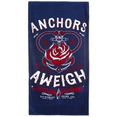 SOURPUSS ANCHORS AWEIGH BEACH TOWEL  Keep dry after jumping into the deep blue with the Sourpuss Anchors Aweigh towel! This velvety soft navy blue towel features our sea-worthy Anchors Aweigh artwork.  $17.00