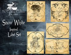 Another one of the many wonderful label sets from The Cackling Cauldron is inspired by the classic childhood story of Snow White. Each label is for