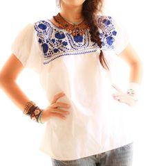 Talavera ethnic embroidered white blouse