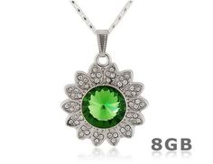 Green Crystal Decorated Sunflower Necklace 8GB USB Flash Drive (Silver & Green)$18.99