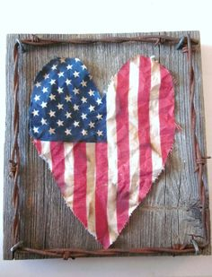 Old Glory -- heart shaped American flag on wooden canvas