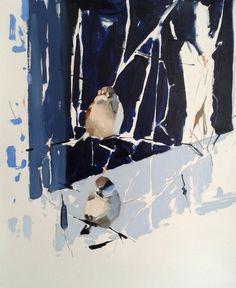 """Esther Tyson on Twitter: """"Less, more #winter #sparrows #blue #birds #oilpainting #art… """" Sparrows, Pet Birds, Twitter, Blue, Painting, Animals, Art, Art Background, Animales"""