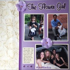 Flower Girl. This 2 page layout shows all the times she was a flower girl when she was little. This is the left side. Album by JoyFilled Custom Albums. #joyfilledca #customscrapbook #weddinglayout #flowergirllayout #2pagelayout