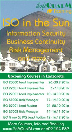 Our autumn 2016 ‎ISO in the Sun‬ schedule of PECB and other courses in Lanzarote keeps growing...