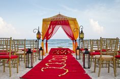 Colorful South Asian ceremonies on the beach provide a private space to enjoy your day with up to 340 people. #DreamsTulum #Mexico #Destinationwedding