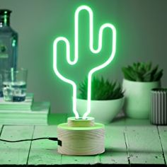Easy To Grow Houseplants Clean the Air Neon Catcus Light Cactus Lamp, Neon Cactus, Cactus Light, Cactus Decor, Cute Room Decor, Teen Room Decor, Bedroom Decor, Neon Tube, Tube Led