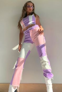 Throw it back this season rocking our super cute pastel patchwork boyfriend jeans, pair with the matching corset top for ultimate outfit goals! Purple Outfits, Retro Outfits, Mode Outfits, Cute Casual Outfits, Girl Outfits, Cute Rave Outfits, Cute Jean Outfits, Stylish Outfits, Patchwork Jeans